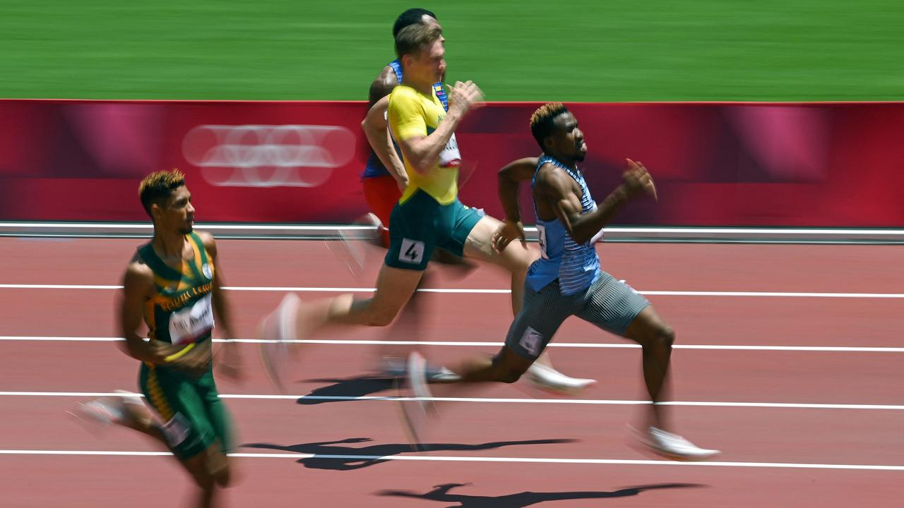 Solomon on his way to second and a personal best. Picture: InaFassbender/AFP