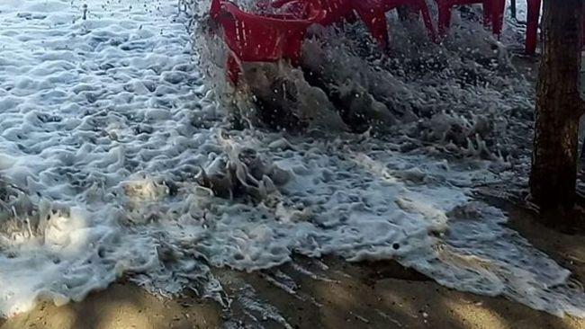 Huge Swells Wipe Out Bali Beach Bar