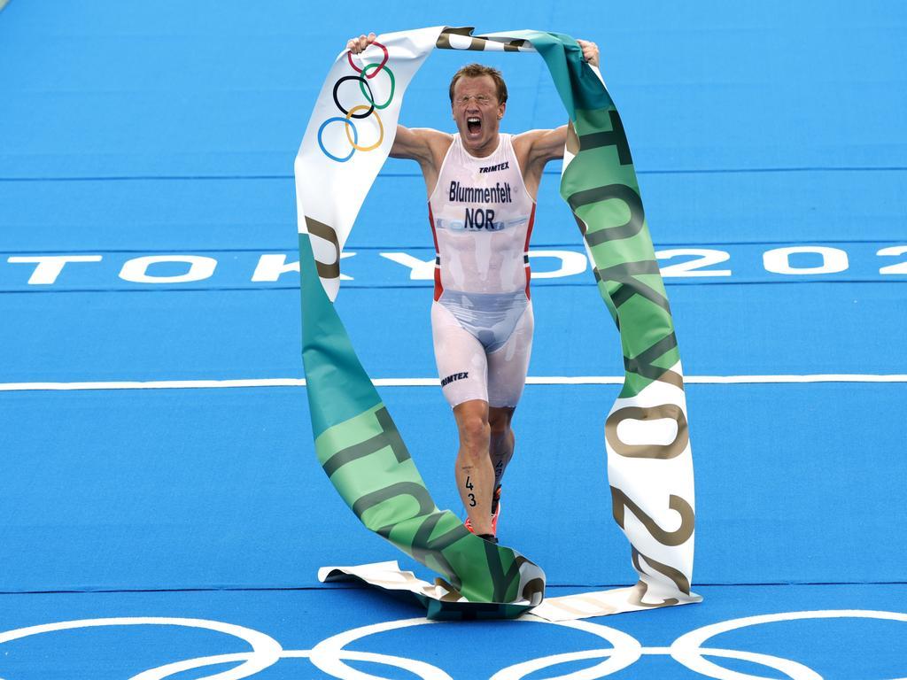 Not how Kristian Blummenfelt would have pictured his golden moment.