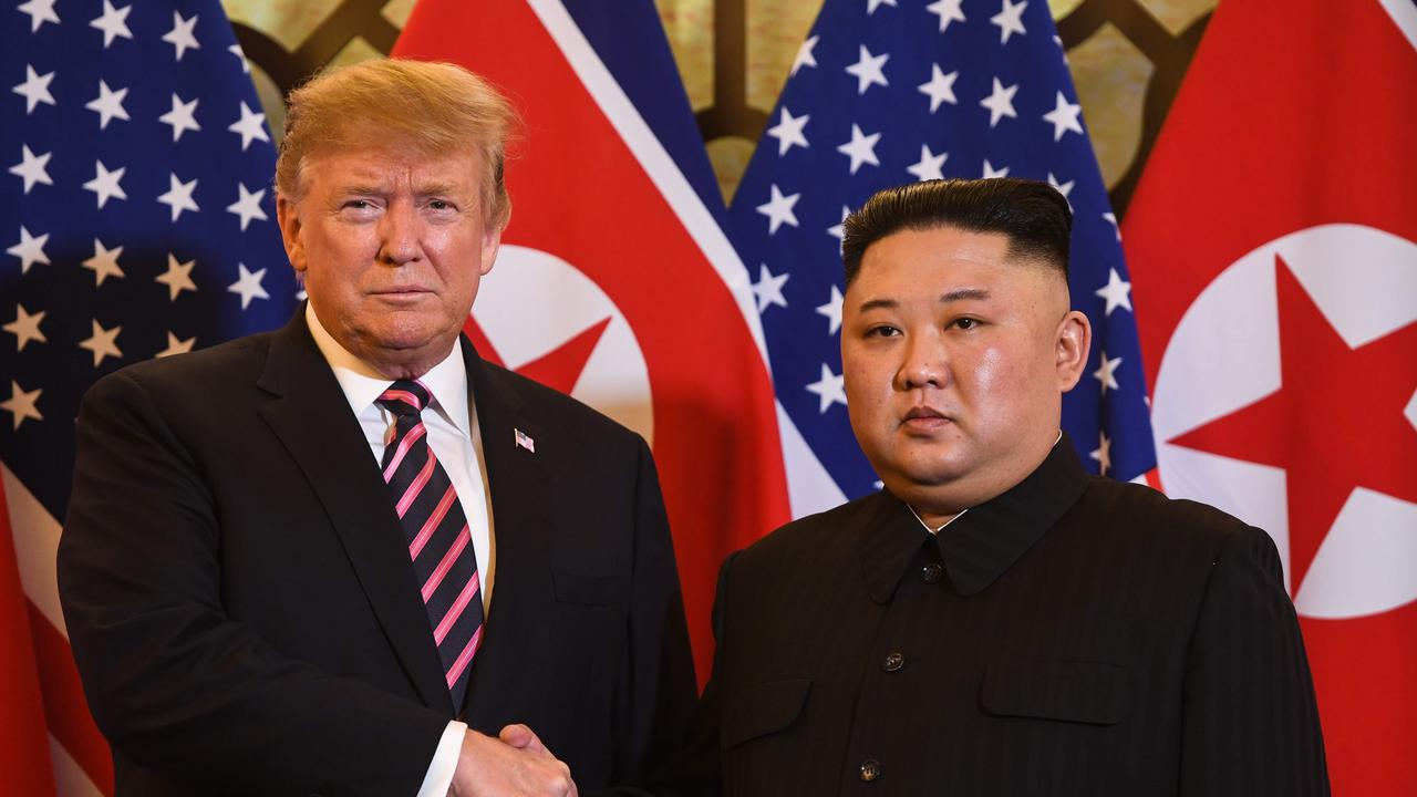 US President Donald Trump  shakes hands with North Korea's leader Kim Jong-un before a meeting at the Sofitel Legend Metropole hotel in Hanoi. Picture; AFP