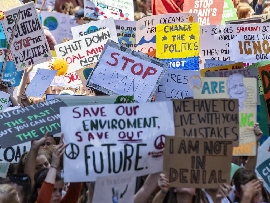 Students hold a climate march at Martin Place. Picture: Jenny Evans