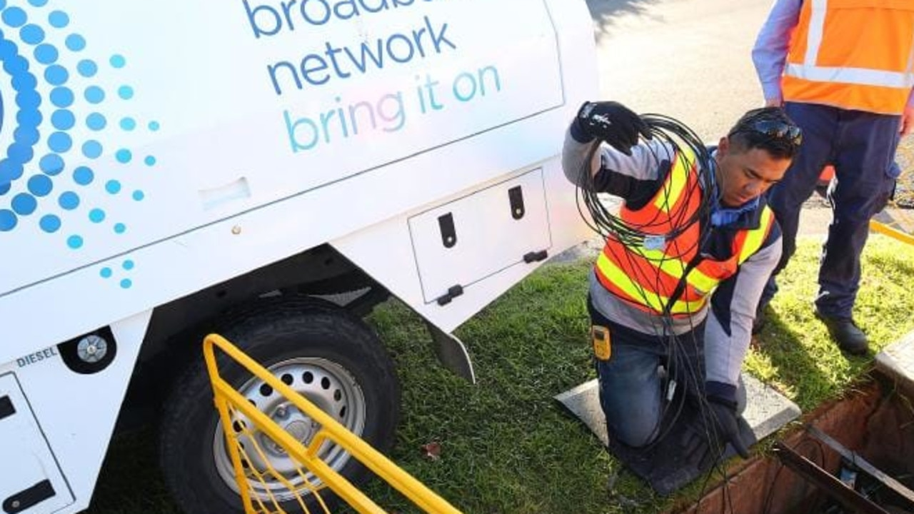 NBN contractors laying cables at one of the 11.5 million premises that will be ready to connect or already connected by the end of June.