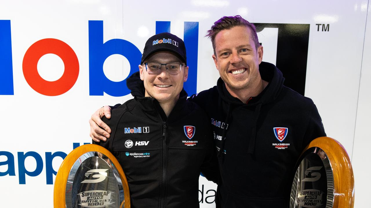 James Courtney and Jack Perkins pose with their trophies. Picture: Daniel Kalisz