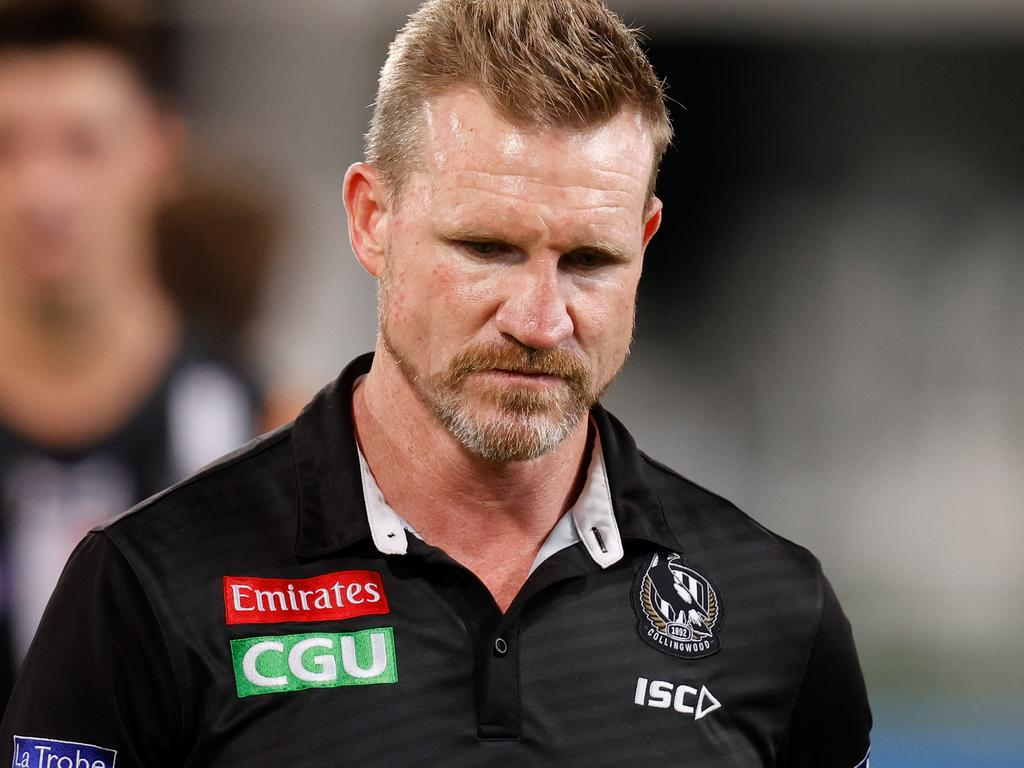 BRISBANE, AUSTRALIA - OCTOBER 10: Nathan Buckley, Senior Coach of the Magpies looks on during the 2020 AFL First Semi Final match between the Geelong Cats and the Collingwood Magpies at The Gabba on October 10, 2020 in Brisbane, Australia. (Photo by Michael Willson/AFL Photos via Getty Images)
