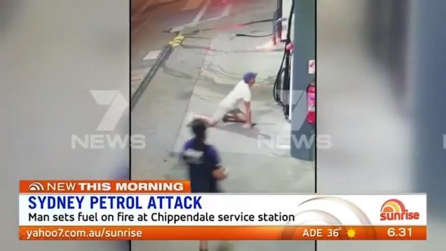Man sets fire to petrol station (7 News)