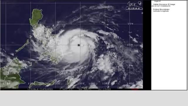 MTSAT Satellite of Typhoon Haiyan's progression