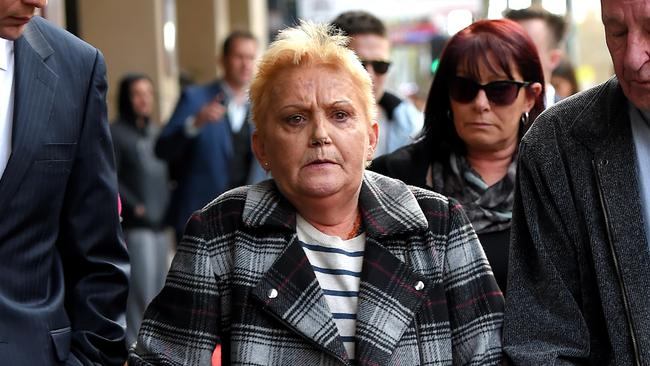 Kylie's mother Julie Maybury outside the Melbourne Magistrates court following the guilty plea. Picture: Nicole Garmston
