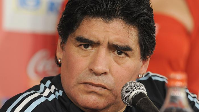 Argentina's head soccer coach Diego Maradona gives a press conference after their FIFA World Cup South Africa-2010 qualifier football match against Uruguay at the Centenario stadium in Montevideo 14 Oct 2009. FIFA is to open a disciplinary investigation into Diego Maradona after the Argentinian coach's sexually-explicit, foul-mouthed rant during his press conference after his team qualified for the 2010 World Cup 16 Oct 2009.