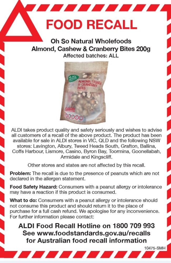 Aldi issued a recall for the same brand of nuts and snacks in March, 2018. Picture: Facebook