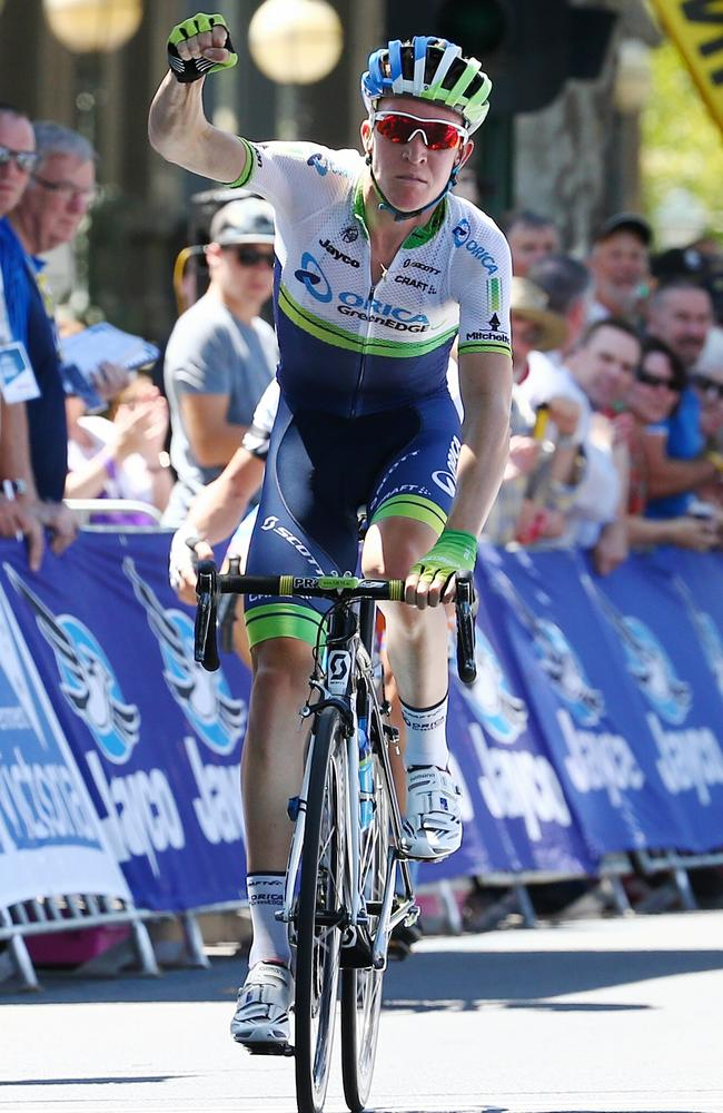 Cameron Meyer of the Orica GreenEdge team outsprints Joe Cooper of the Avanti Racing team to win Stage 2. Picture: Michael Klein