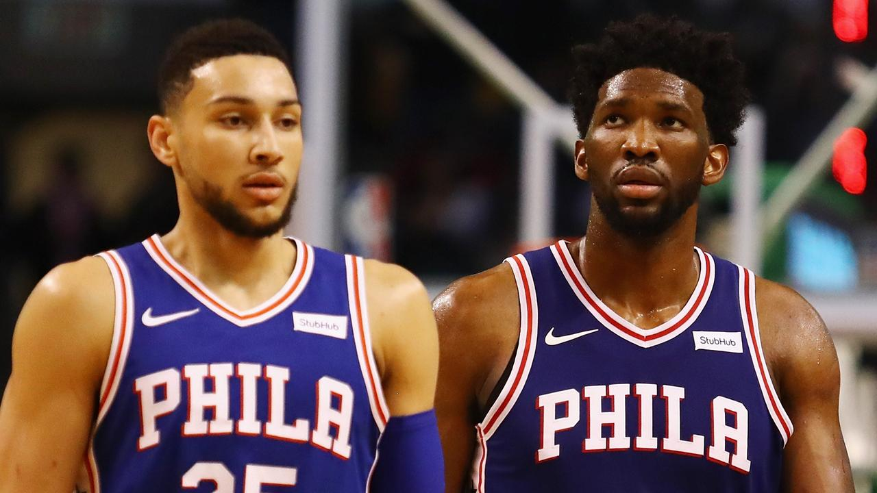 Ben Simmons and Joel Embiid did all they could. Tim Bradbury/Getty Images/AFP