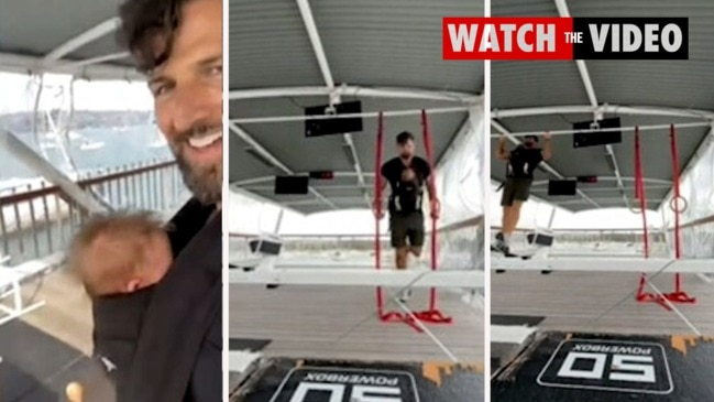 Tim Robards slammed for working out with newborn