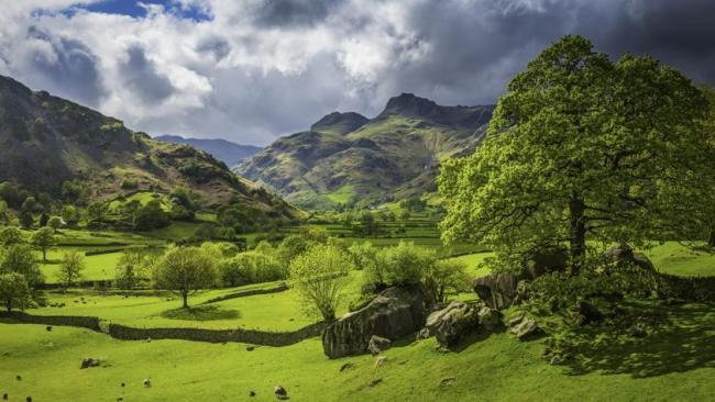 The iconic rocky summits of the Langdale Pikes and Bow Fell towards Coniston and Windermere, Cumbria.