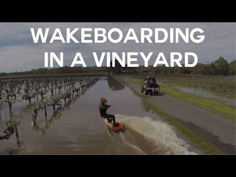AUSTRALIA: Drone Shows Wakeboarder Gliding Across Flooded Vineyard October 01
