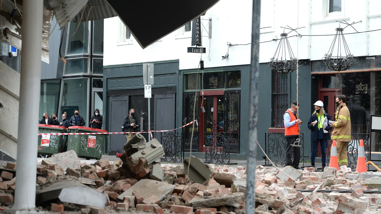 A damaged building on Chapel Street in Prahran in inner Melbourne after a magnitude 6 earthquake hit the city this morning. Picture: NCA NewsWire / Andrew Henshaw