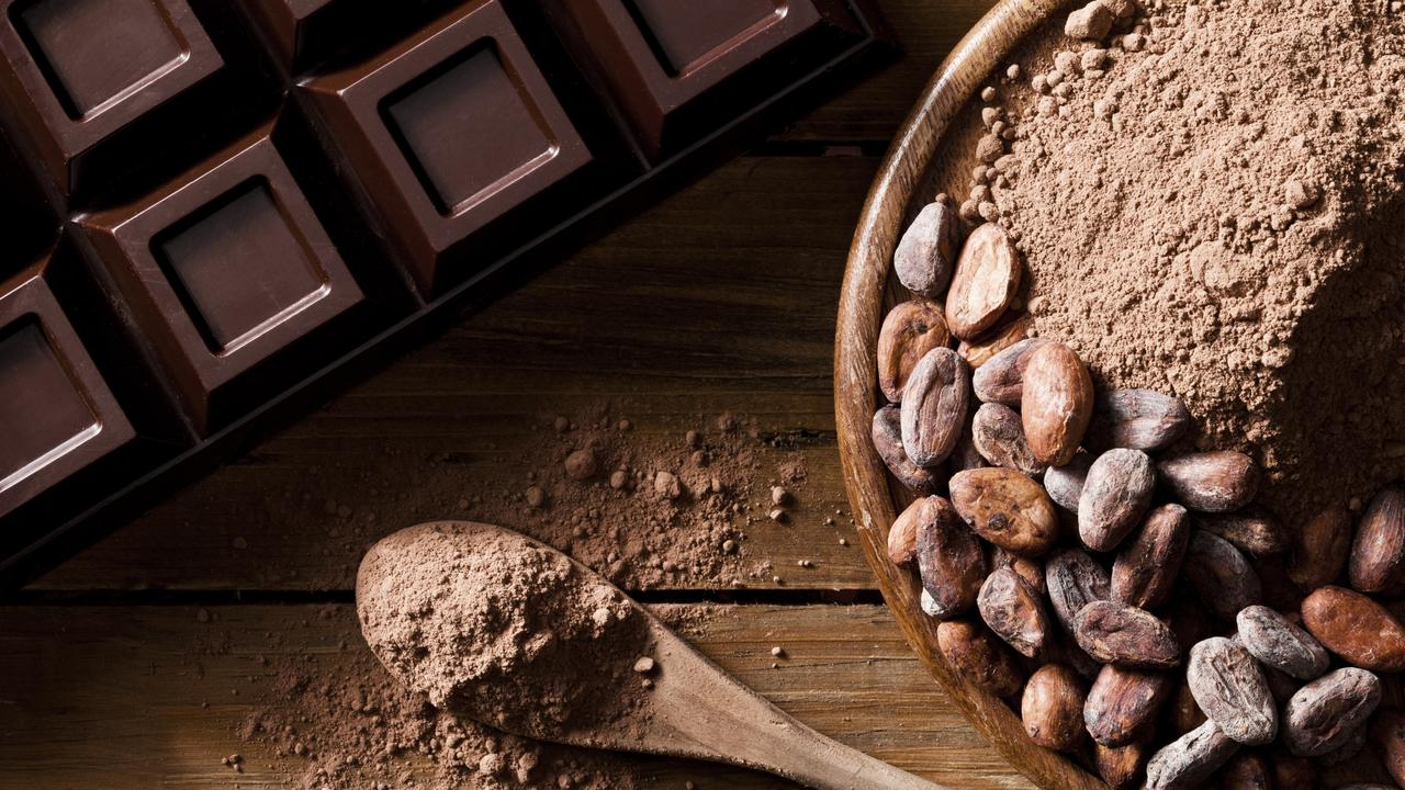 Close-up of chocolate bar, cocoa beans and ground cocoa