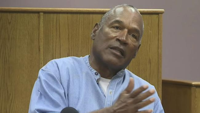 Former NFL football star OJ Simpson appears via video for his parole hearing at the Lovelock Correctional Center in Nevada. Picture: Lovelock Correctional Center via AP
