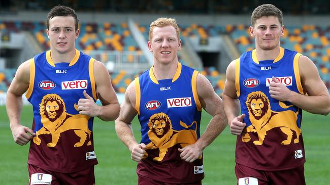 The Brisbane Lions Mozzie Squad: Lewis Taylor, Green and Dayne Zorko. Picture: Jono Searle