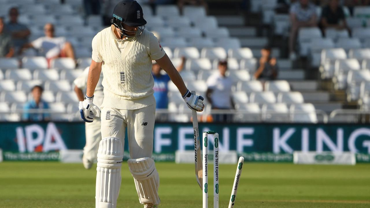 Jonny Bairstow picked up his first-ever Test golden duck. Picture: AFP.
