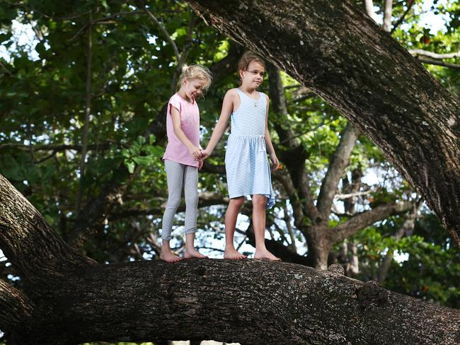 Parents also need to be conscious about helicopter parenting. Letting your kids learn their own limits by doing things such as climbing trees (like Ellyanna Yates and Chelsea Plasto, pictured) will help them learn their limits. Picture: Brendan Radke
