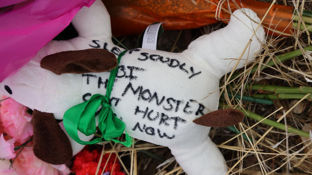 A message attached to a plush dog toy at the Whispering Wall. Picture: NCA NewsWire/David Mariuz