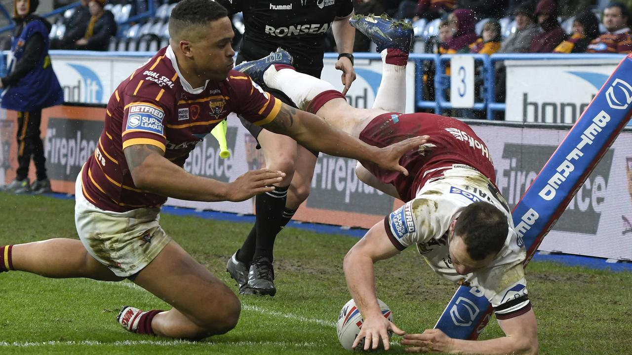 Liam Marshall almost had four tries if not for having this one disallowed. (Photo by George Wood/Getty Images)
