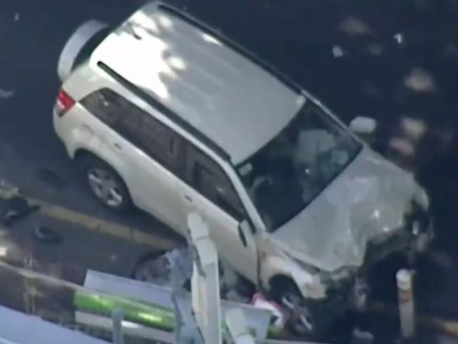 Pedestrians were struck by a rampaging car in Flinders St, Melbourne, between Elizabeth and Swanston streets on December 21.