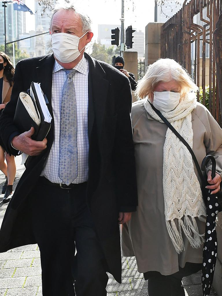 Rosa Maione made no comment as she left the Adelaide Magistrates court with her lawyer Stephen Ey on Wednesday. Picture Mark Brake