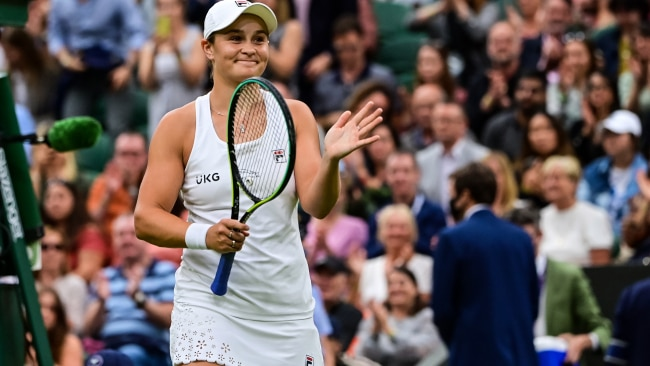 Ash Barty has paid tribute to fellow Indigenous tennis legend Evonne Goolagong Cawley by wearing a frilled skirt modelled off the one Goolagong Cawley wore in her first Wimbledon victory. Photo by TPN/Getty Images
