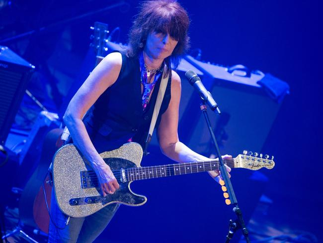 Chrissie Hynde spots an audience member using their mobile. Maybe. Pic: Terry Wyatt/Getty Images
