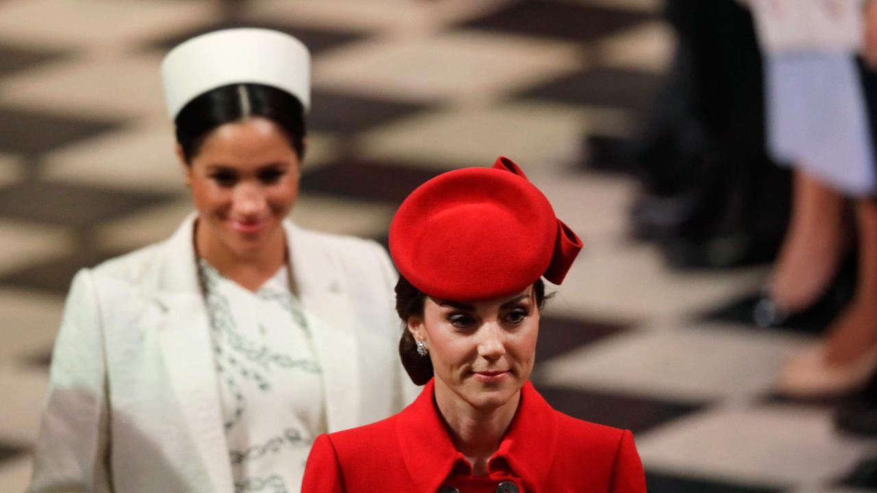 Rumours are rife of a feud between Meghan (left) and Kate Middleton. Picture: Kirsty Wigglesworth / Pool / AFP