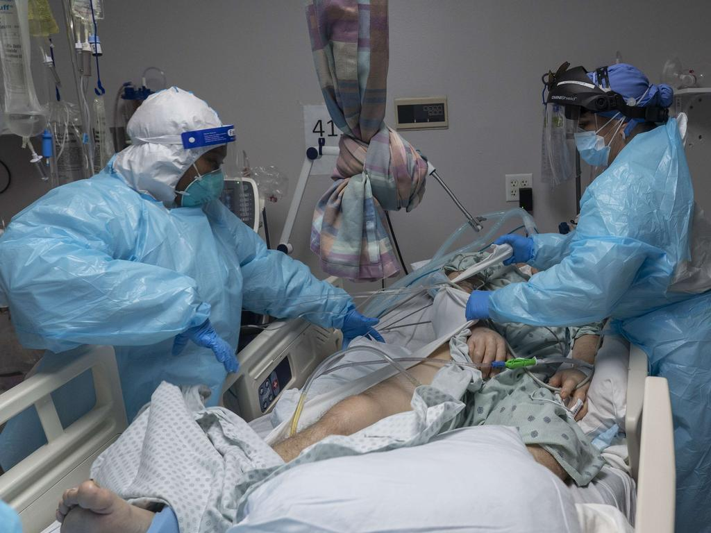 A patient is treated in the COVID-19 intensive care unit at the United Memorial Medical Center in Houston, Texas. Picture: Go Nakamura/Getty Images/AFP