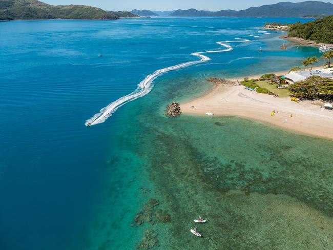 BURN OFF THE BLUES Find out what freedom tastes like as you pelt along on a jet ski with Whitsunday Jet-Ski Tours with your immediate family or a friend on their 1.5-hour Airlie Adventure tour or two-hour Two Island Safari tour. Picture: Tourism Whitsundays