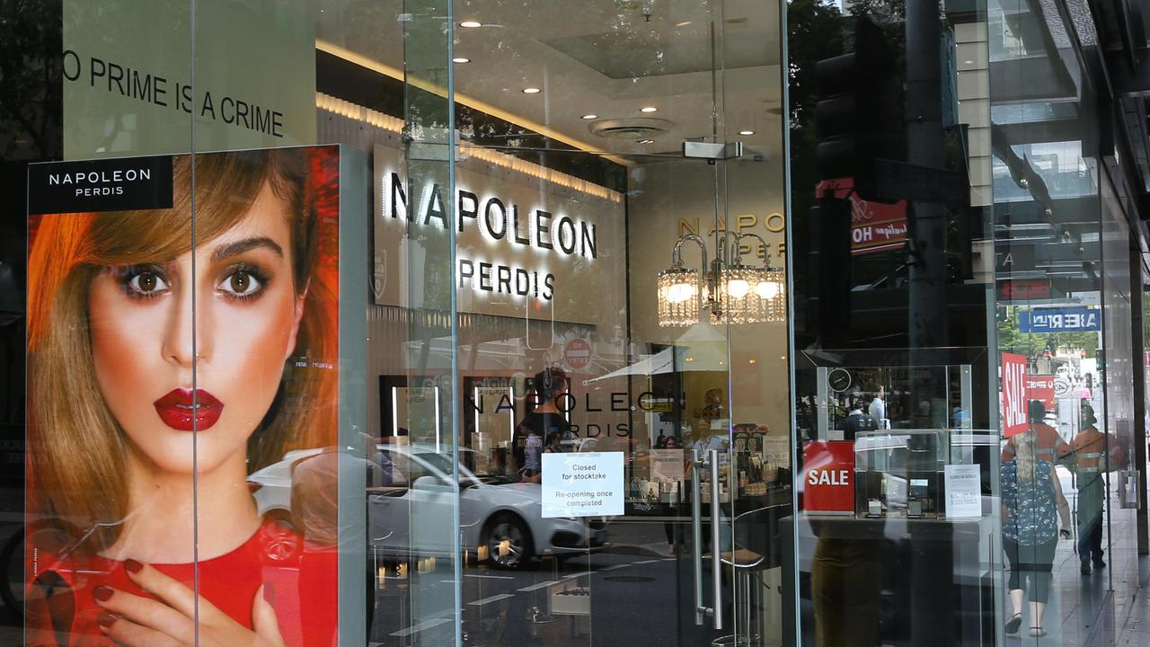 Napoleon Perdis makeup stores were one of the Aussie businesses that went into receivership this year. Picture: Richard Waugh/AAP