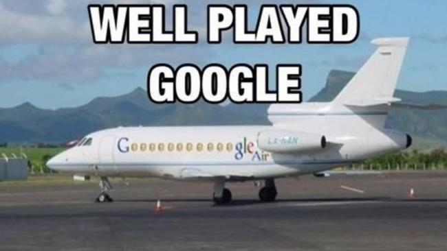 6/14 Couldn't have put it better ourselves Of course, Google has its own private jets but tip of the hat for using the windows as the letter 'o'. Or are they the zeroes in the salaries of the people on board?