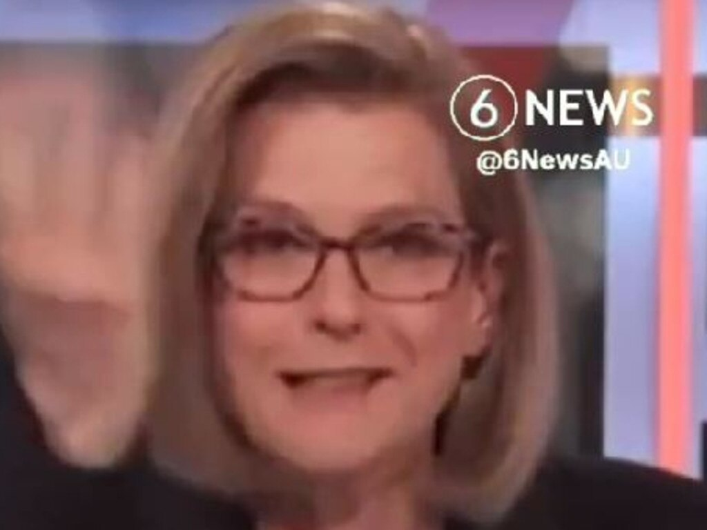 Frame Grab from 6NEWS vision of ABC journalist Ellen Fanning slipping up on air, telling viewers Victoria's lockdown would not end for another 49 years.