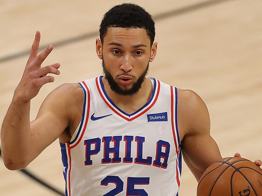 ATLANTA, GEORGIA - JUNE 18:  Ben Simmons #25 of the Philadelphia 76ers calls out a play against the Atlanta Hawks during the first half of game 6 of the Eastern Conference Semifinals at State Farm Arena on June 18, 2021 in Atlanta, Georgia.  NOTE TO USER: User expressly acknowledges and agrees that, by downloading and or using this photograph, User is consenting to the terms and conditions of the Getty Images License Agreement. (Photo by Kevin C. Cox/Getty Images)