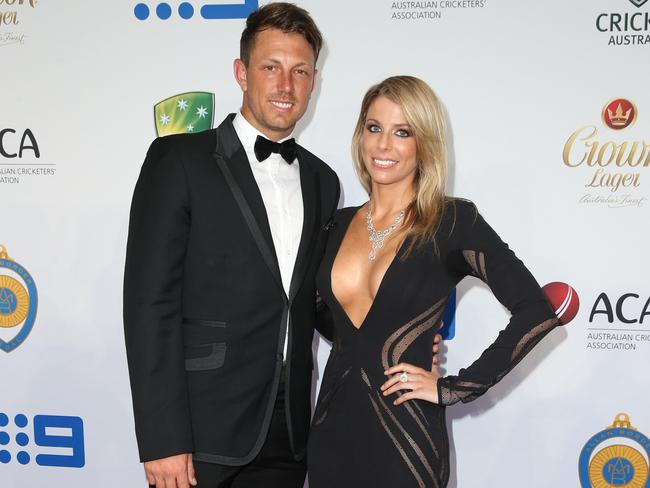 James Pattinson and Kayla Dickson at the 2015 Allan Border Medal evening. Picture: Richard Dobson.