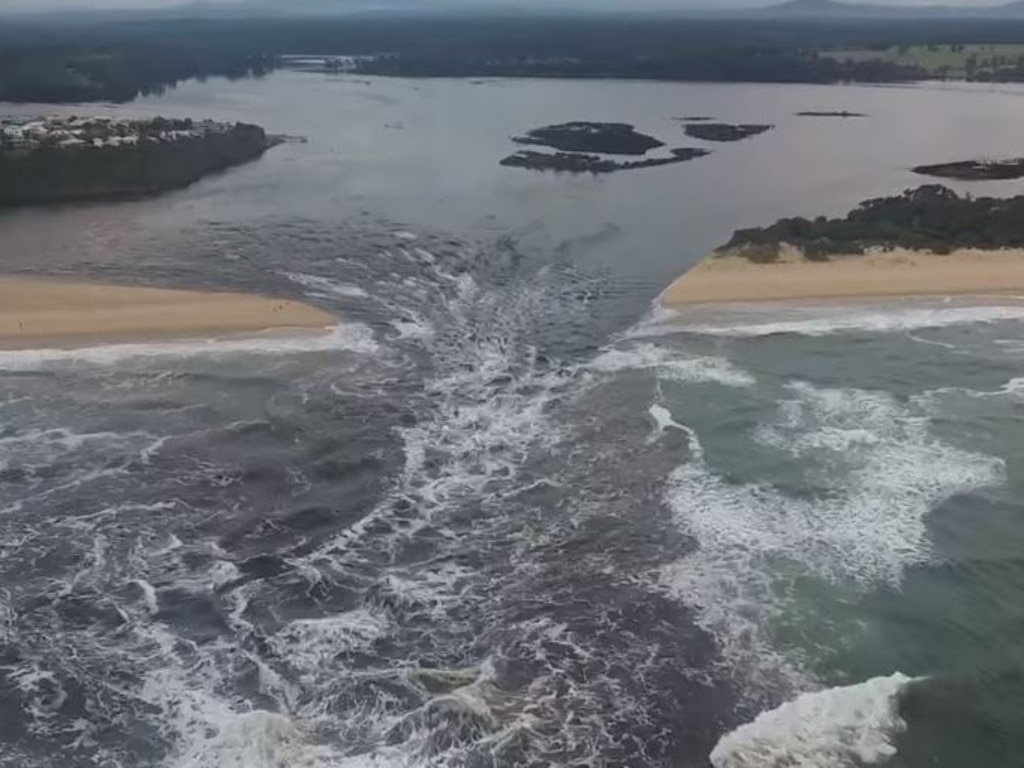 Lake Tyers broke into the ocean on Monday for the first time in five years. Picture: Facebook/Chris Rykers