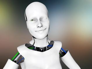 Flirting female humanoid robot