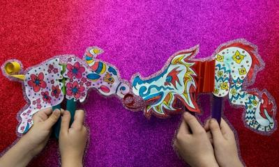 Make Chinese New Year ox and dragon paper crafts