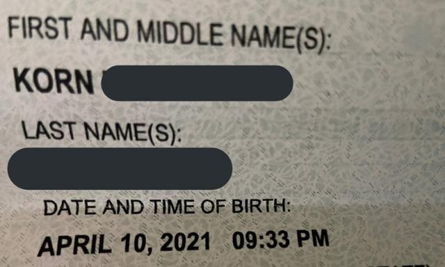 Baby names: Mum shares birth certificate for daughter named Korn