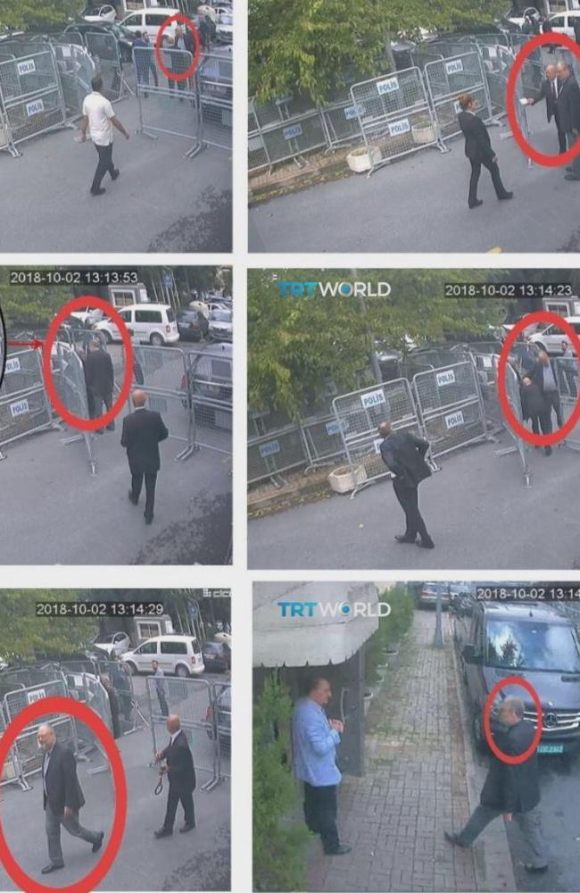 A series of grabs from CCTV video obtained by Turkish broadcaster TRT World purportedly show journalist Jamal Khashoggi entering the Saudi consulate in Istanbul on Tuesday, October 2. Picture: CCTV/TRT World via AP