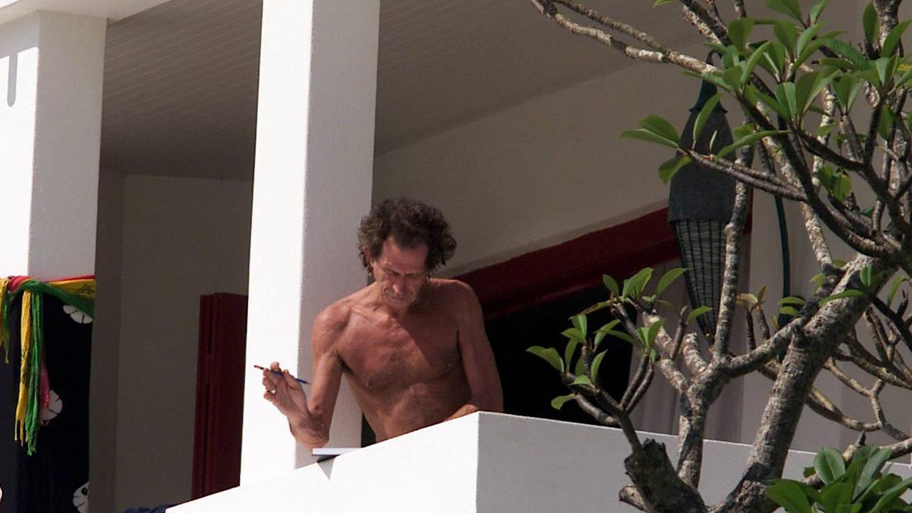 Rolling Stones guitarist Keith Richards on the balcony at Rae's. Picture: Matt Turner.