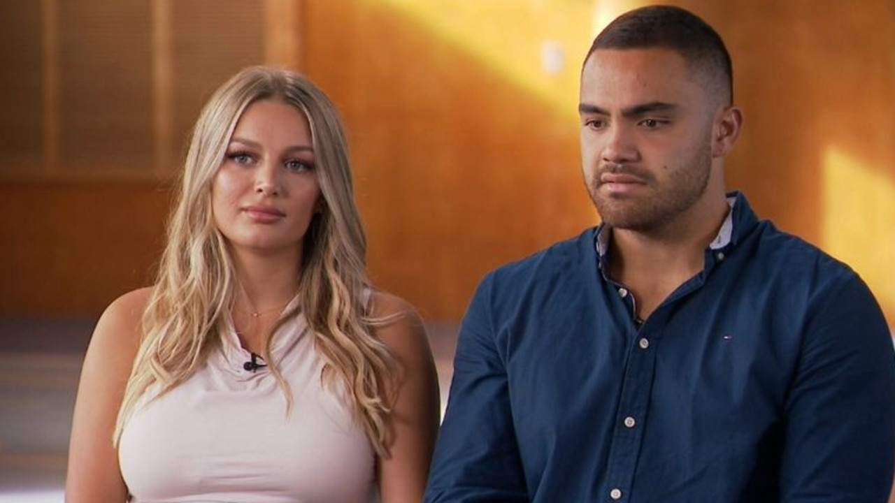 NRL player Dylan Walker and fiancee Alex Ivkovic during an interview with Nine News about his domestic battery charge. Picture: 9 News.