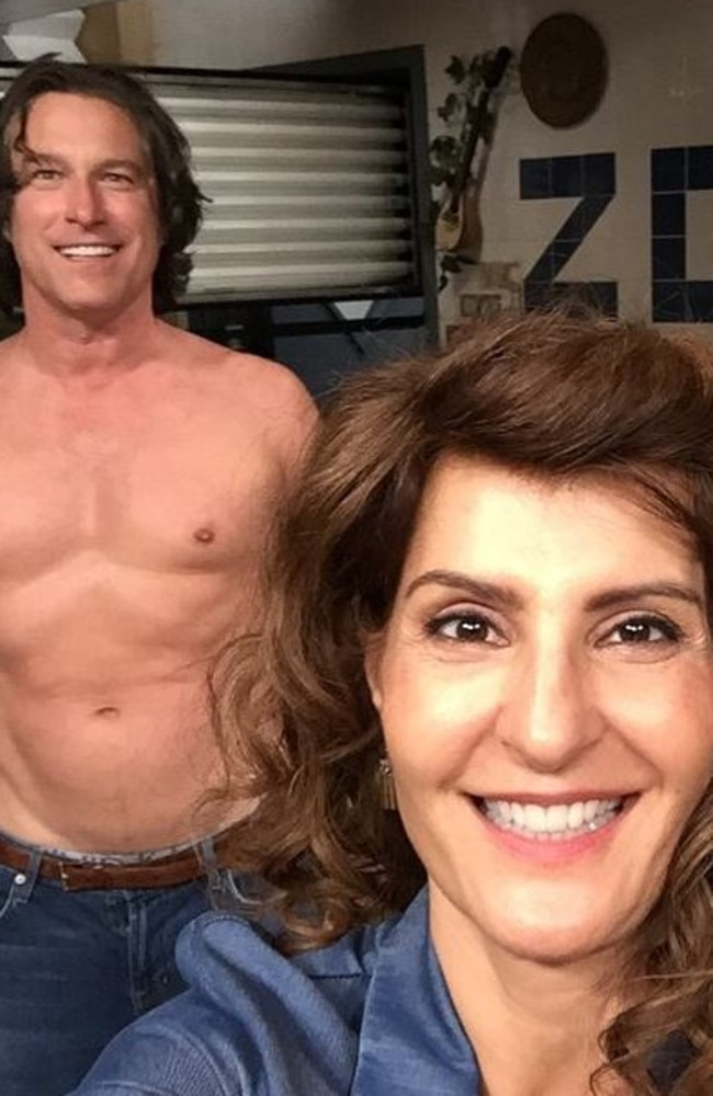 Corbett and Vardalos in the infamous late-night Twitter photo. Picture: Nia Vardalos/Twitter