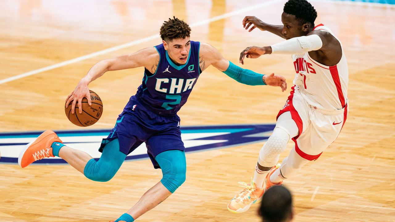 LaMelo Ball is the most popular NBA singlet in Australia while in-form Boomers Ben Simmons, Joe Ingles and Patty Mills don't make the top 10 in sales. Picture: Jacob Kupferman/Getty Images.