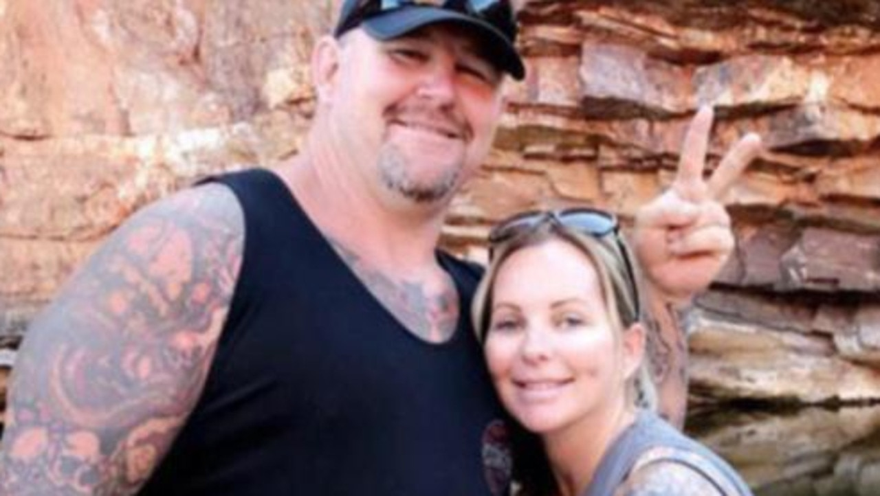 Bikie Nick Martin, pictured here with his wife Amanda, was killed in the shooting on Saturday. Picture: Supplied