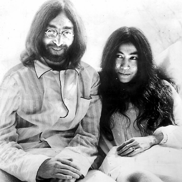 Ono and John Lennon in their famous seven-day bed-in protest at the Hilton in Amsterdam, 1969.