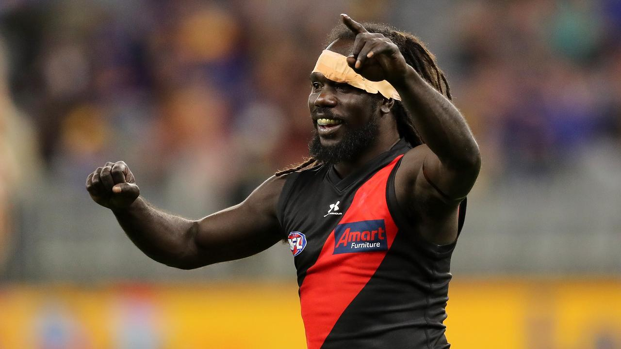 Anthony McDonald-Tipungwuti of the Bombers celebrates after scoring a goal. Picture: Will Russell